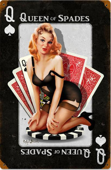 Queen of Spades Pin-Up Metal Sign