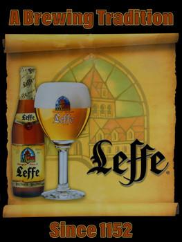 Leffe Scroll Beer Metal Sign