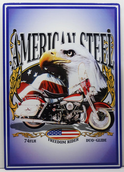 American Steel Freedom Rider Duo-Glide Metal Sign