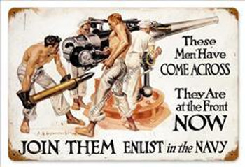 Join Them- Navy Metal Sign