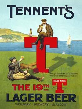 Tennent's T Lager Beer Metal Sign
