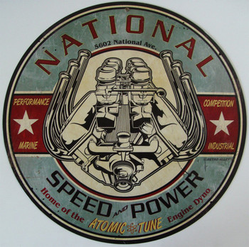 """National Speed and Power 14"""" Round Metal Sign"""