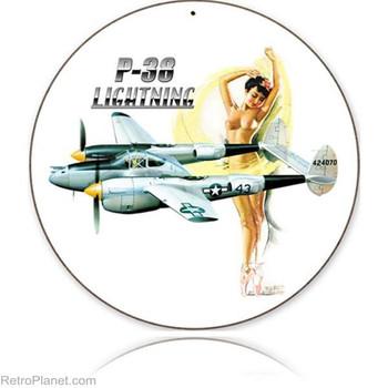 """P-38 Lightning Pin-Up 14"""" Round Metal Sign"""