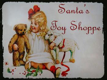 Santa's Toy Shoppe Metal Sign