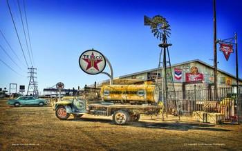 Texaco w/ Gas Truck Metal Sign