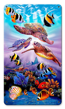 Turtles Aqua Satin Metal Sign