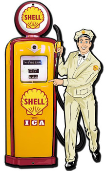 Shell Gas Station Attendant ( laser cut ) Metal Sign