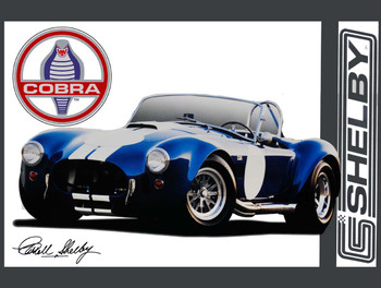Carroll Shelby Blue Cobra Metal Sign