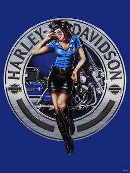 Police Babe Harley-Davidson Metal Sign