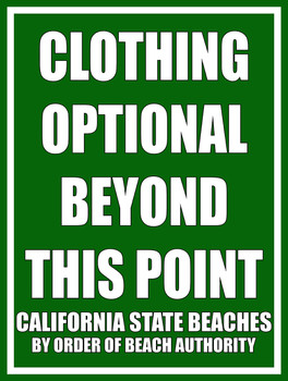 MSF469 Clothing Optional Beach Sign
