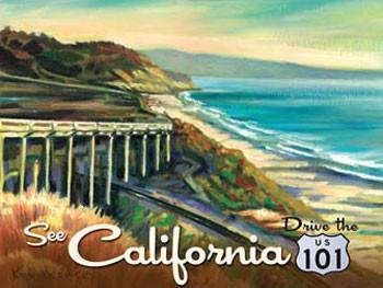 California 101 Metal Sign