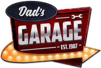 Dad's Garage Plasma Cut Metal Sign