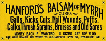 Hanford's Balsam of Myrrh Porcelain Sign
