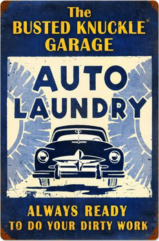 """Auto Laundry Vintage (24"""" by 16"""" metal sign)"""