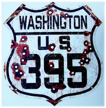 US Route Washington 395 Shield Rustic