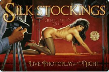 Silk Stockings Pin-Up Metal Sign