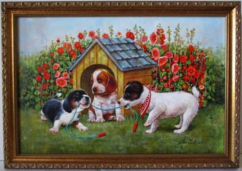 Lee Dubin-Three Puppies-Dog House-Original