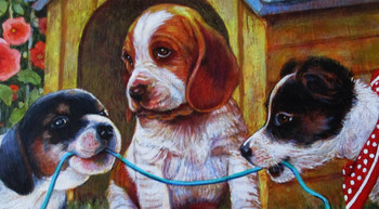 Lee Dubin-Three Puppies-Dog House-Original