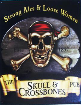 The Skull & Crossbones (Disc) Metal Sign