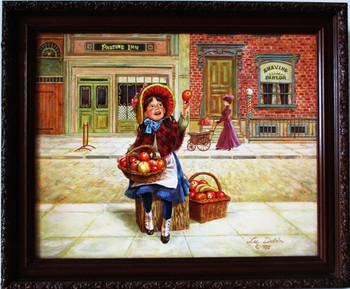 """Lee Dubin Framed Original Painting """"Fresh Fruit Peddler"""""""