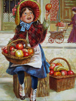 "Lee Dubin Framed Original Painting ""Fresh Fruit Peddler"""