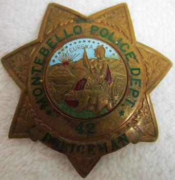 Montebello Police Dept Badge #42  Policeman