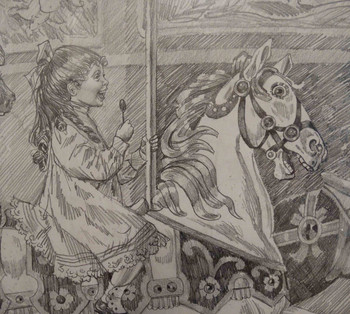 Girl Riding Carousel Horse by Lee Dubin Framed Original Pencil Sketch