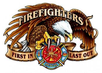"""Firefighters (plasma cut metal sign) 22"""" by 16"""""""