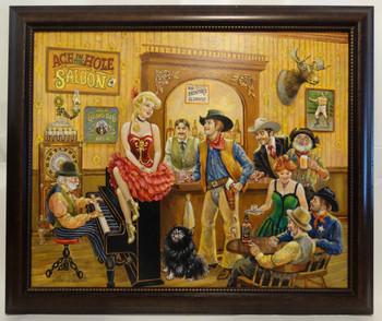 Bentley's Western Saloon by Lee Dubin Framed Original Painting