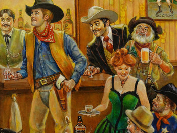 Bentley's Western Saloon by Lee Dubin Framed Original Painting