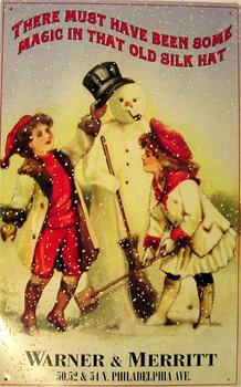 Warner & Merritt (snowman) Metal Sign