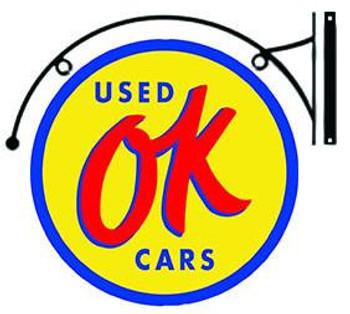 "OK Used Cars Hanging 22"""