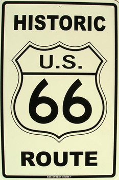 Historic U.S. 66 Route Aluminum Sign