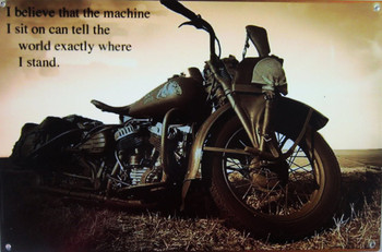 """Motorcycle """"Where I Stand"""" Metal Sign"""