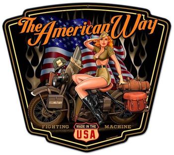 American Way Plasma Cut Metal Sign