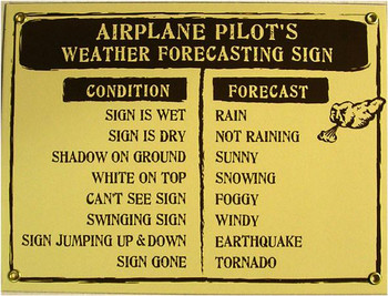 Airplane Pilot's Weather Forecasting Porcelain Sign