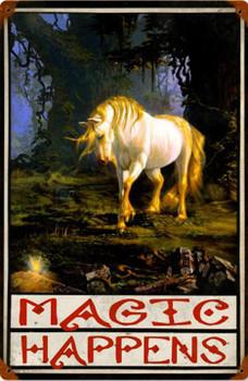 Magic Happens Unicorn Vintage Metal Sign