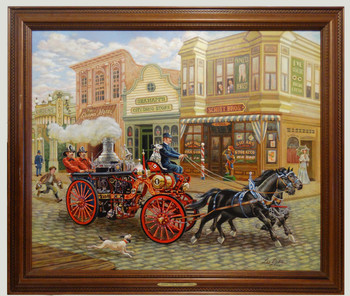 Steam Fire Engine 1902 Original Oil Painting