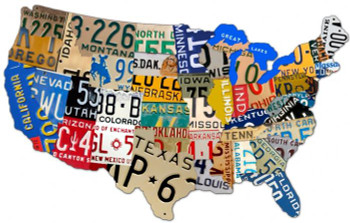 """License Plate USA Plasma Cut Metal Sign 25"""" by 16"""""""
