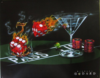 Flaming Dice with Martini by Goddard