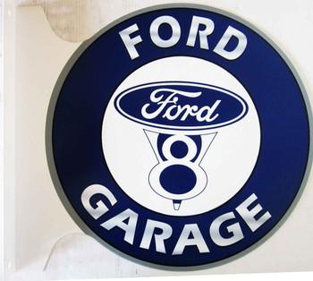"""Ford V8 Garage Flange Sign 12"""""""