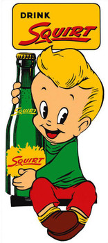 Squirt Boy Embossed Metal Sign