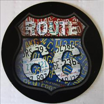 """Route 66 License Collage 12"""" Round Metal Sign"""