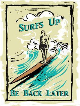 Surfs Up Wave Metal Sign