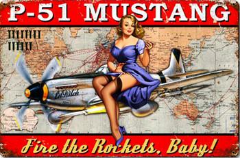 P-51 Mustang Pinup Metal Sign