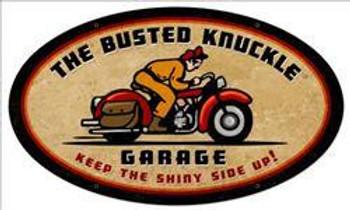 Retro Rider Oval Metal Sign
