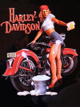 Wash Babe Harley Davidson Metal Sign
