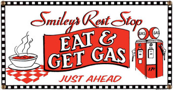 Eat & Get Gas Porcelain Sign