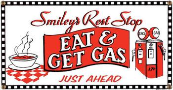 Eat & Get Gas Porcelain Sign