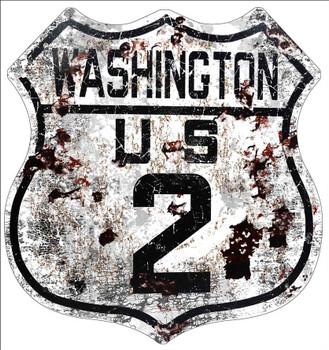 Washington US Route 2 Distressed Shield